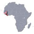 Afrikakarte und Liberia