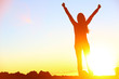 Leinwanddruck Bild - Happy celebrating winning success woman sunset