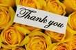 Thank you note with yellow roses bouquet