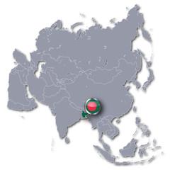 Asienkarte und Bangladesch