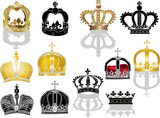twelve crowns isolated on white background