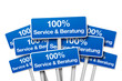 Schilder mit 100% Service & Beratung