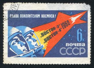 Cosmonauts in space helmets