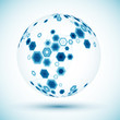 Abstract hexagonal sphere. Vector background