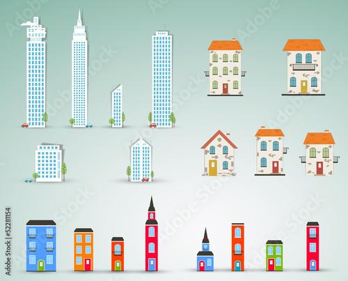 Set of buildings. Vector