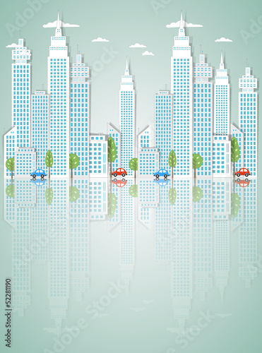 Modern town background. Vector