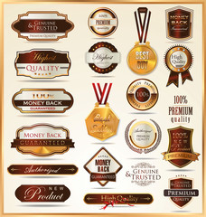 Luxury gold and red labels