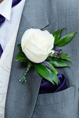 Grooms buttonhole closeup