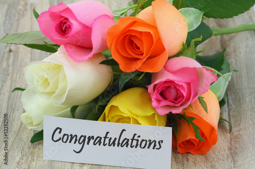 Congratulations note with colorful roses bouquet