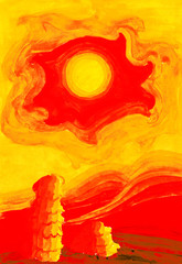 hot sun in yellow sky over the red-hot desert