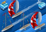 Isometric Sail ships in Navigation and Regatta