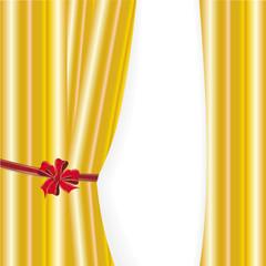 Vorhang in gold mit roter Schleife