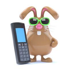 Chocolate bunny chats on his phone