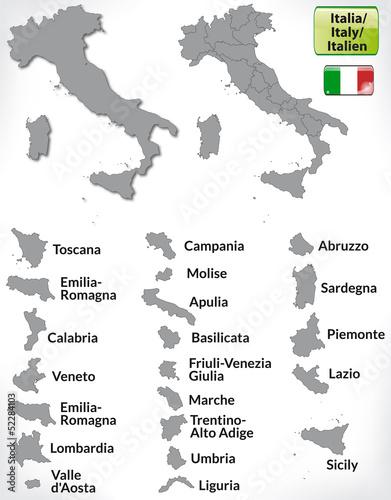 Italienkarte mit Grenzen und Flagge