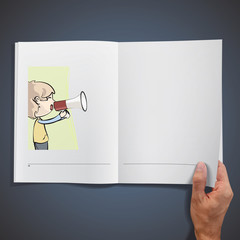 Young kid shouting with megaphone inside a book.