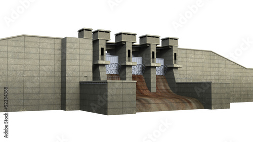 Papiers peints Canal Dam Isolated on White Background