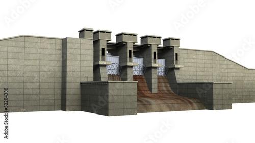 Dam Isolated on White Background - 52284388