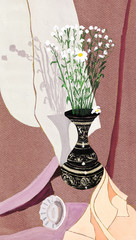 small white camomiles in metal jug