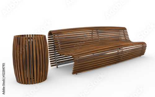 Wooden Bench with Trash Can