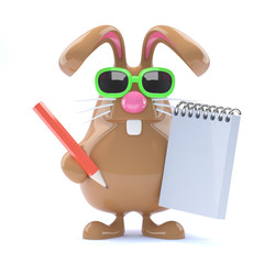 Chocolate bunny takes notes