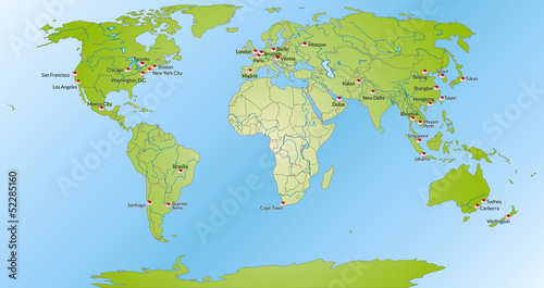 Weltkarte mit Meeresflächen