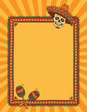 Frame with mexican skull in sombrero