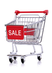 Sale sign on shopping cart