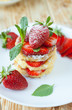 homemade curd pancake with strawberries
