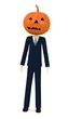 3d render of cartoon character with pumpkin on head