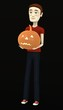 3d render of cartoon character with pumpkin