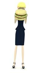 3d render of cartoon character with hamburger