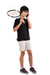 Portrait of a cute kid with tennis racquet isolated on white bac
