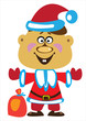 vector boy dressed as santa claus on white background