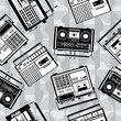 seamless vector cassette recorder on gray background
