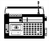 vector cassette recorder on white background
