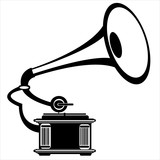 vector retro gramophone on white background