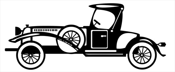 vector retro automobile on white background