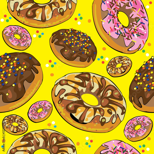 seamless pattern of donuts on yellow background