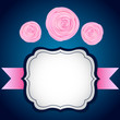 Vector frame with roses flowers and ribbon