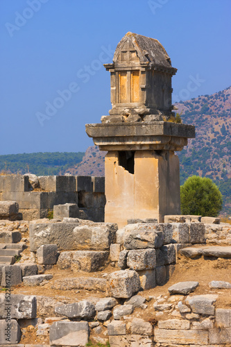 The ancient Lycian tomb on a pillar-pedestal in Xanthos, Turkey.