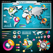 World map and information graphics.