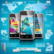 Vector mobile phone design set of infographic elements