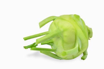 Green kohlrabi turnip isolated on white