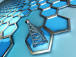 communications tower and hexagons