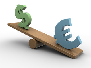 euro and dollar seesaw