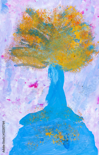 child's painting - autumn tree