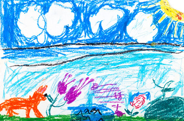 child's drawing - fox on summer lawn