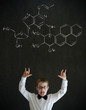 Knowledge rocks boy business man with science chemistry formula
