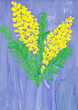 child's drawing - sprig of mimosa