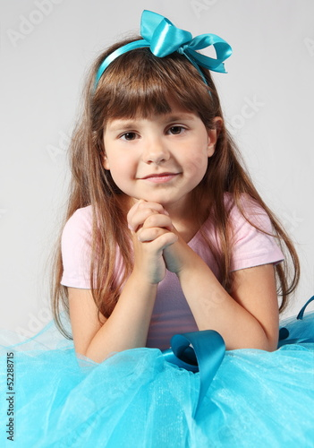 Little Smiling Girl Hands Together Portrait
